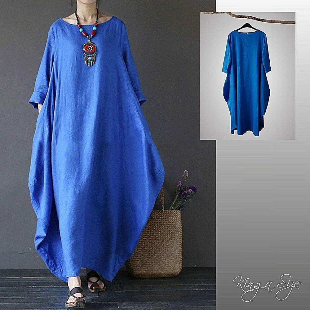 Kleid - Lagenlook / Maxikleid Womens Long Dress Casual ...