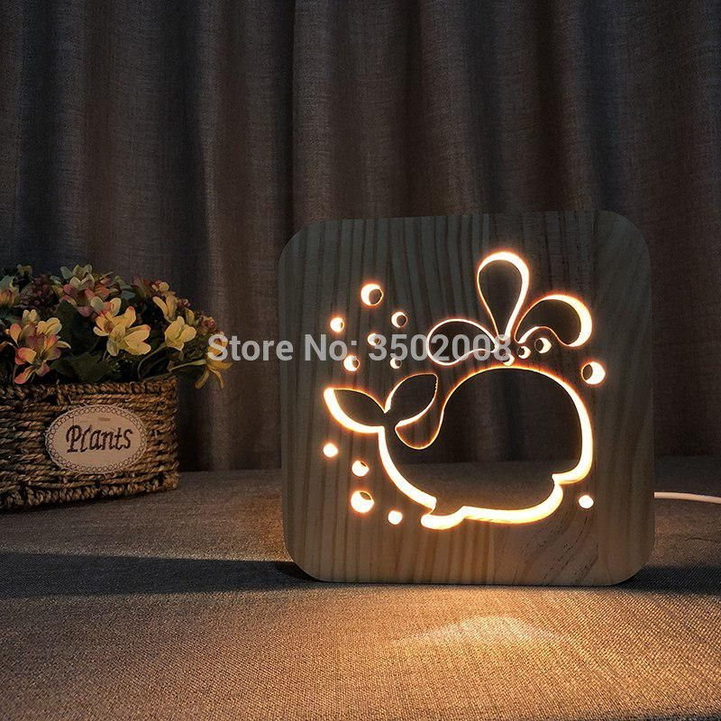 3d Wooden Whale Hollow Design Night Lamp Warm Lighting Usb Power Lamp Us 27 30 Creative Lamps Table Lamps For Bedroom Animal Lamp