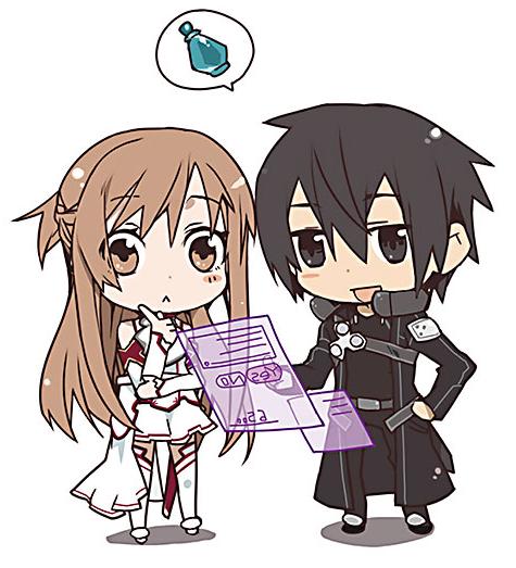 A Chibi Illustration On The Backcover Of Sword Art Online Volume 1 Latest Image Source Ruranobe Sword Art Online Anime Nghệ Thuật Anime