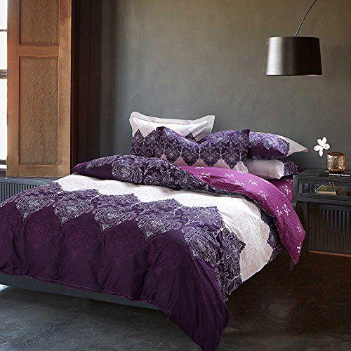 thefit paisley bedding r18 purple style boho bedding sets 4pcs queen size cotton duvet cover