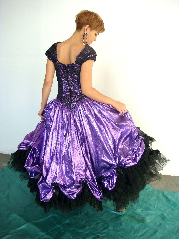 VTG 80s Metallic Purple Princess Fairy Tale Prom Dress Poof Loralie ...