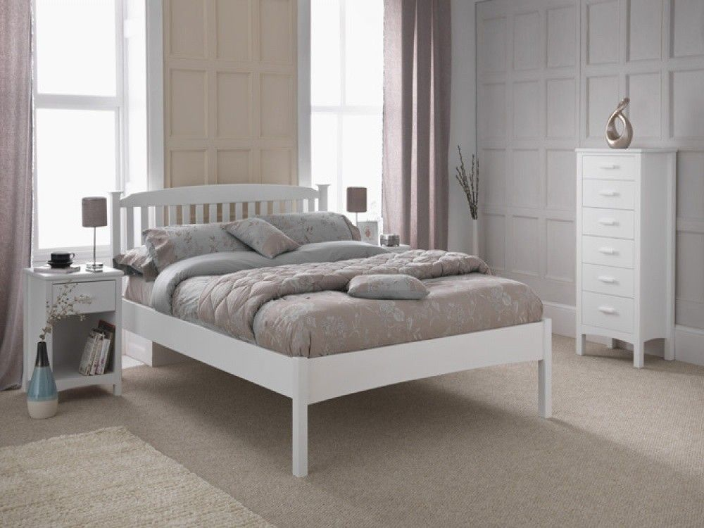 eleanor white white wood low foot end bed frame