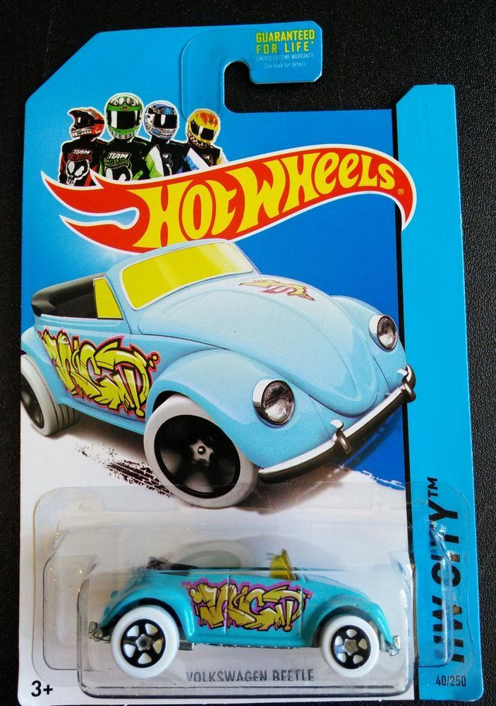 Blue Hot Wheels 2013 HW City Graffiti Rides '68 Volkswagen Beetle Convertible