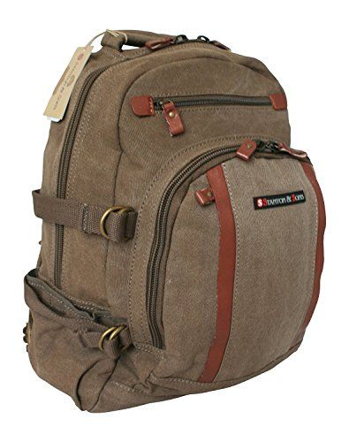 Canvas School & Work 15 Laptop Backpack Padded Bag with Leather Trim - INFO @ http://www.enetworkinghub.com/Gadgets/100065/lra