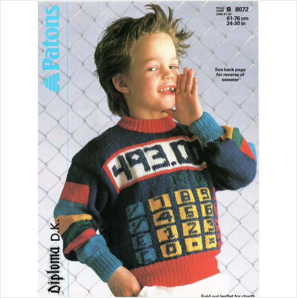 Patons children\'s calculator motif sweater Knitting Pattern 8072 on ...