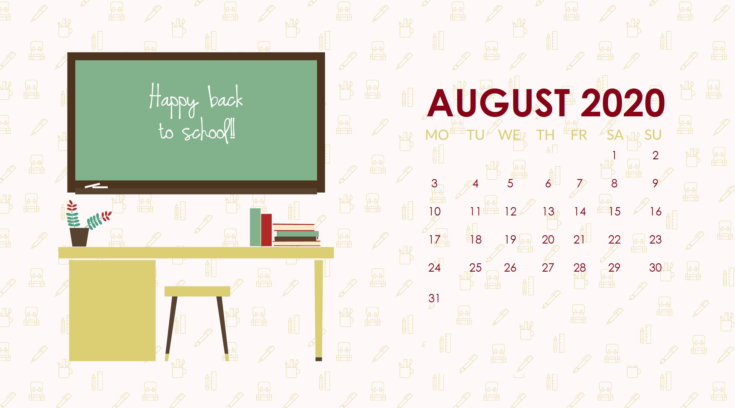August 2020 Desktop Wallpaper in 2020 Monthly calendar