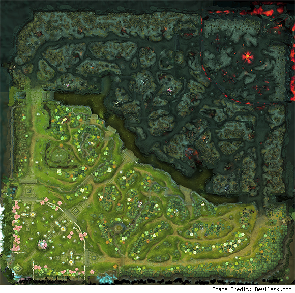Dota 2 Basic Moba Map design i have play league and this map its a Dota Map on