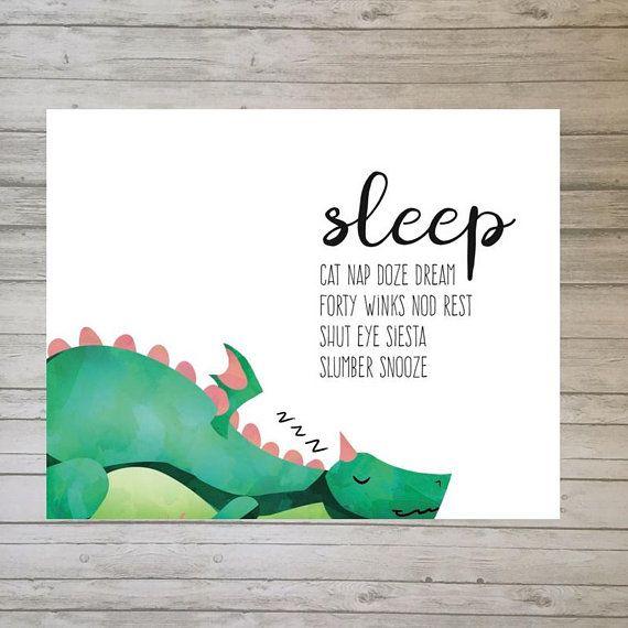 Sleeping Dragon Art Print Knight Nursery Decor Cute Boy ...