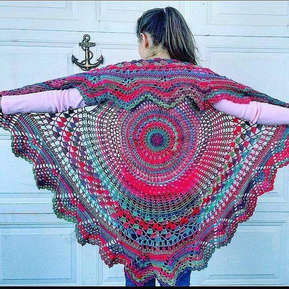 Circle Vest - -Bohemian Vest - Hippie Vest done in Red Heart ...