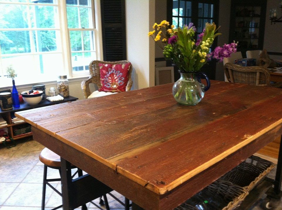 Custom farmers table created from reclaimed antique wood