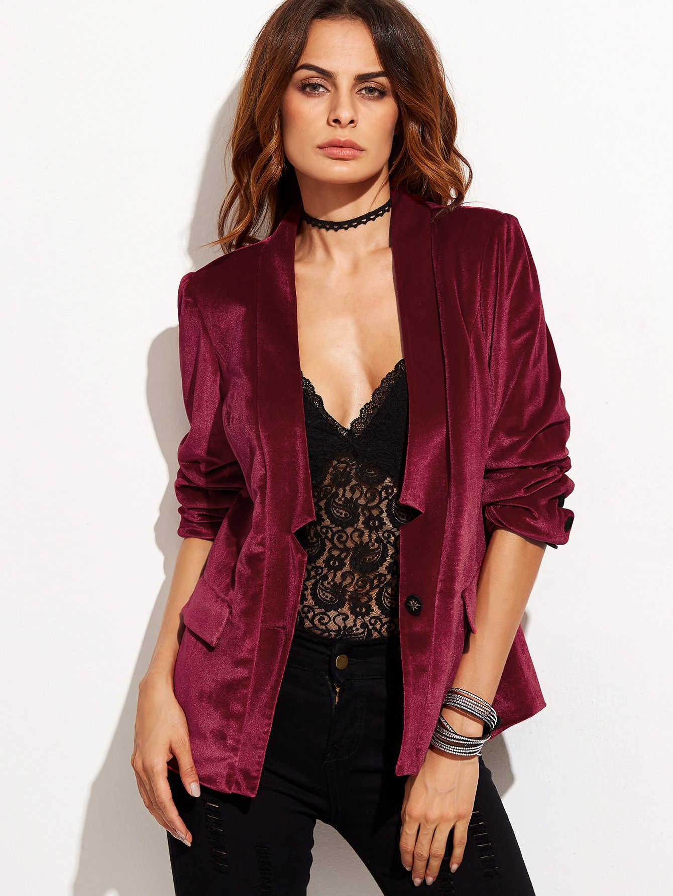 b692ae5ba5c1 Shop Burgundy One Button Notched Collarless Velvet Blazer online. SheIn  offers Burgundy One Button Notched Collarless Velvet Blazer & more to fit  your ...