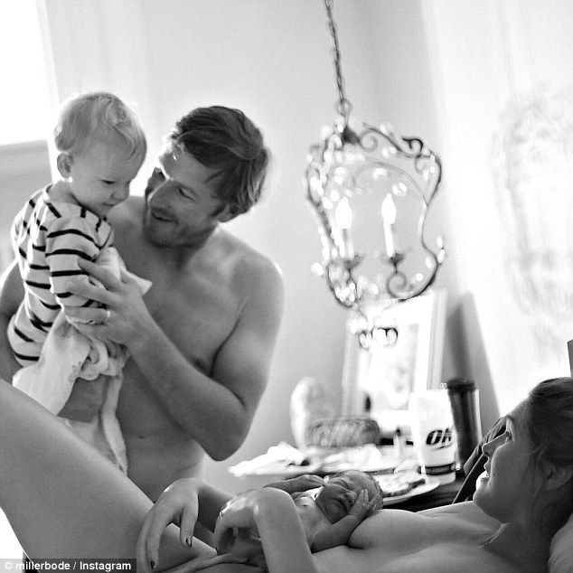 Bode Miller (left) and his wife Morgan Beck Miller (right), left little to the imagination in pictures posted Sunday that appear to show their newborn daughter's umbilical cord