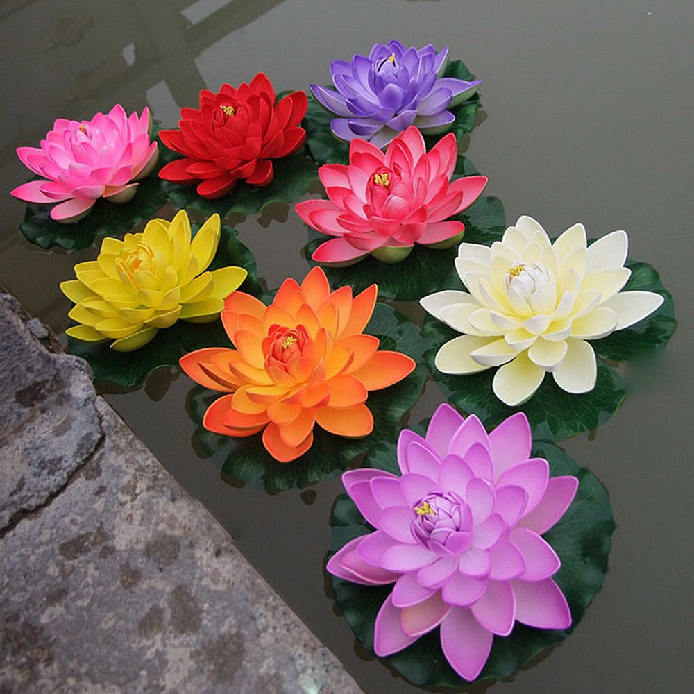 2pc Fake Lotus Water Lily Floating Flower Garden Pool Plant Ornament