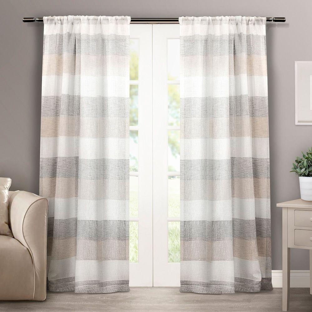Exclusive Home 2 Pack Bern Stripe Sheer Rod Pocket Window Curtains