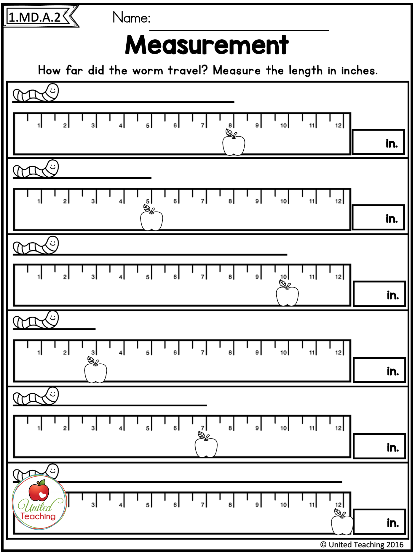FALL MATH ACTIVITIES (1ST GRADE) - United Teaching   Measurement  activities [ 1867 x 1400 Pixel ]