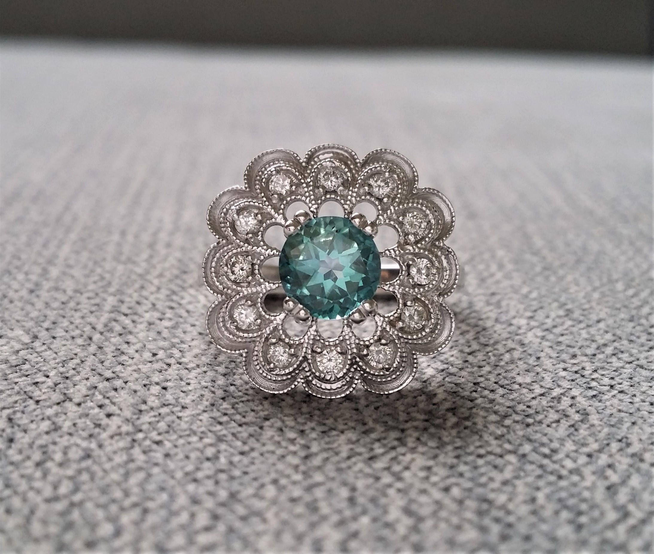 engagement brides beautiful gallery stone two rings teal