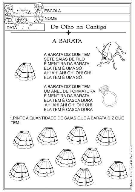 Atividade Folclore Cantiga De Roda A Barata Cantigas De Roda