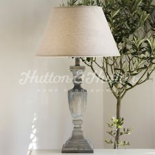 FRENCH VINTAGE SHABBY AND CHIC BLUE/GREY LAMPBASE URN & NATURAL LINEN SHADE