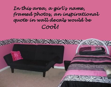 Hot pink wall paint color in a teenage girl bedroom with zebra bedding set   faux. Hot pink wall paint color in a teenage girl bedroom with zebra