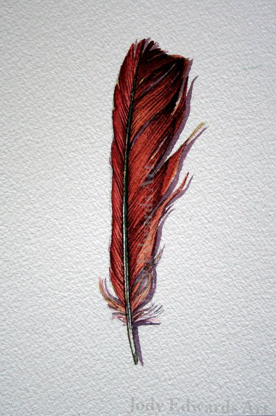 Cardinal feather painting Original watercolor by jodyvanB on Etsy