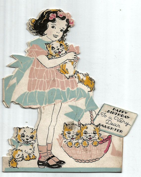 Vintage Die Cut Daughter Birthday Card Girl And By BigGDesigns