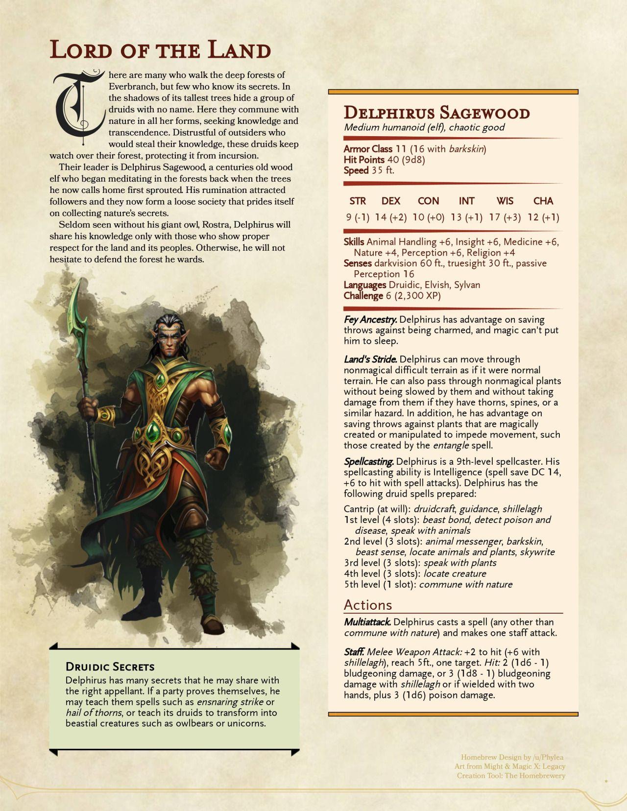 Druid Leader Delphirus Sagewood by Phylea | RPG - Gaming in