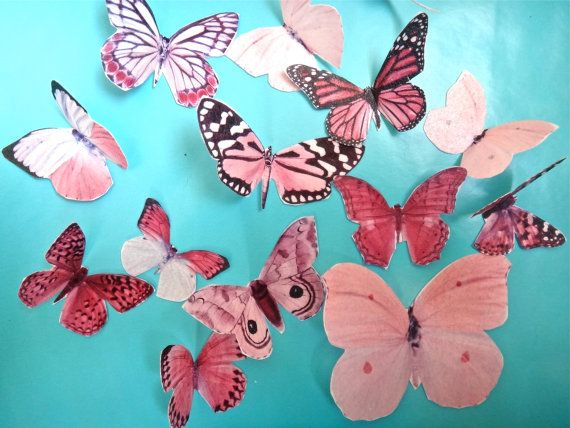 BONANZA of 13 PINK BUTTERFLY edible image by QueenofTartsWafers