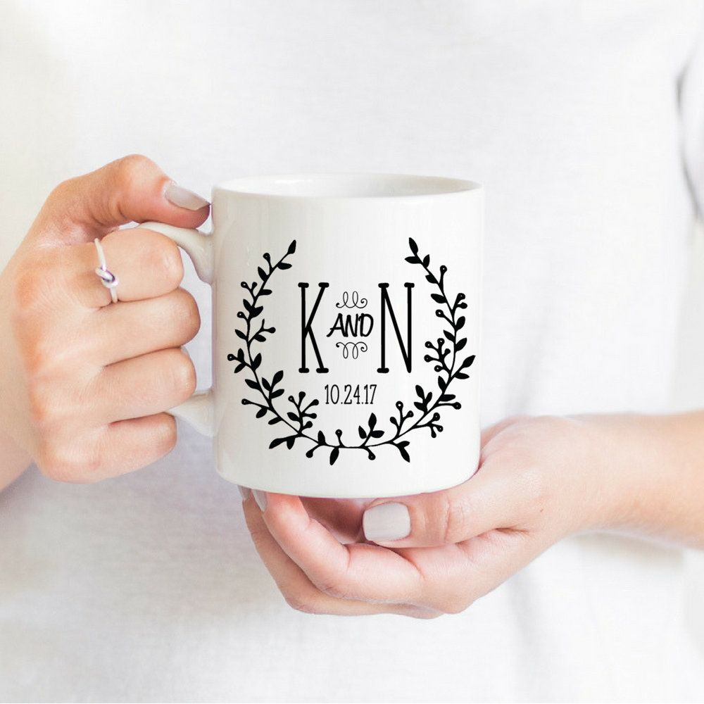 Personalized Coffee Cups Winter Wedding Couples Mugs Bride Groom Coffee Mugs Engagement Bridal Gift Wreat Coffee Wedding Wedding Mugs Wedding Initials