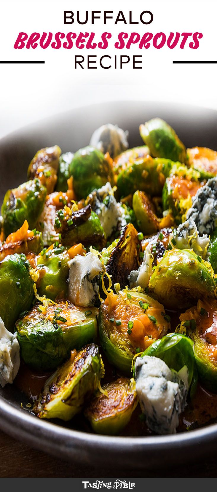 Spicy Buffalo Brussels Sprouts with Blue Cheese