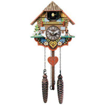 16 Inch Black Forest Saint Bernard with Alpine Horner Player Cuckoo Clock - M8-08PQ, LL103-1