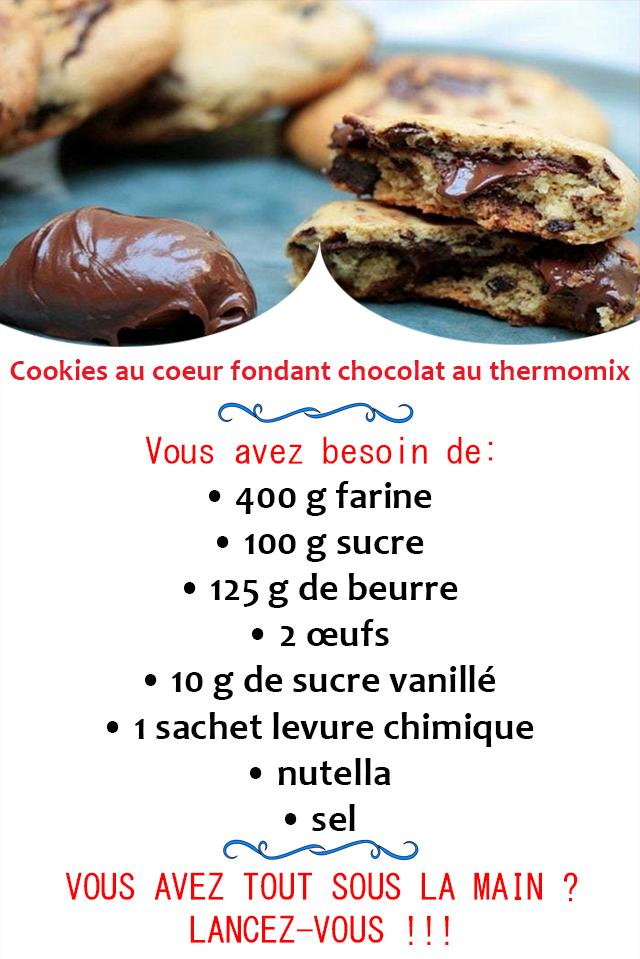 Cookies au coeur fondant chocolat au thermomix