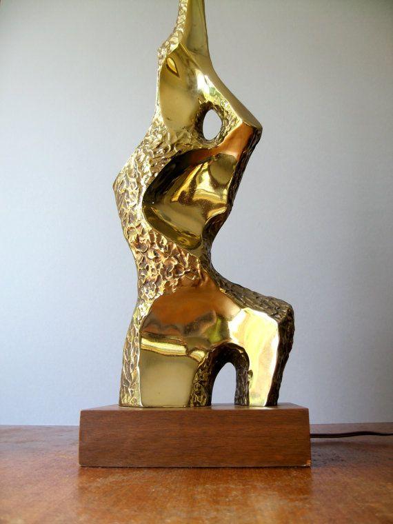Mid Century Laurel Brass Table Lamp Brutalist / by luola on Etsy - Mid Century Laurel Brass Table Lamp Brutalist / By Luola On Etsy
