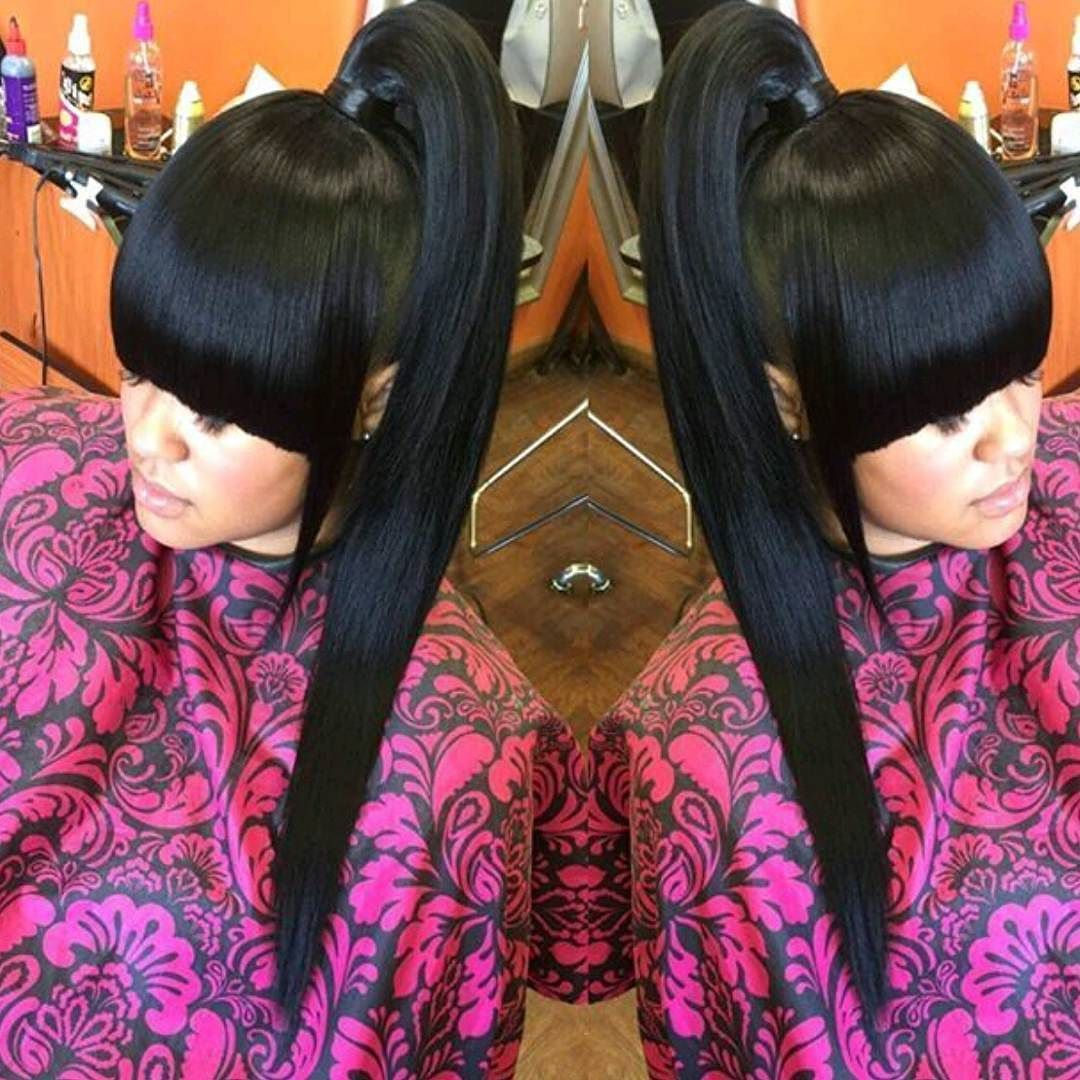 Pin By Mizhani Blanco On Bangs With Ponytail Weave