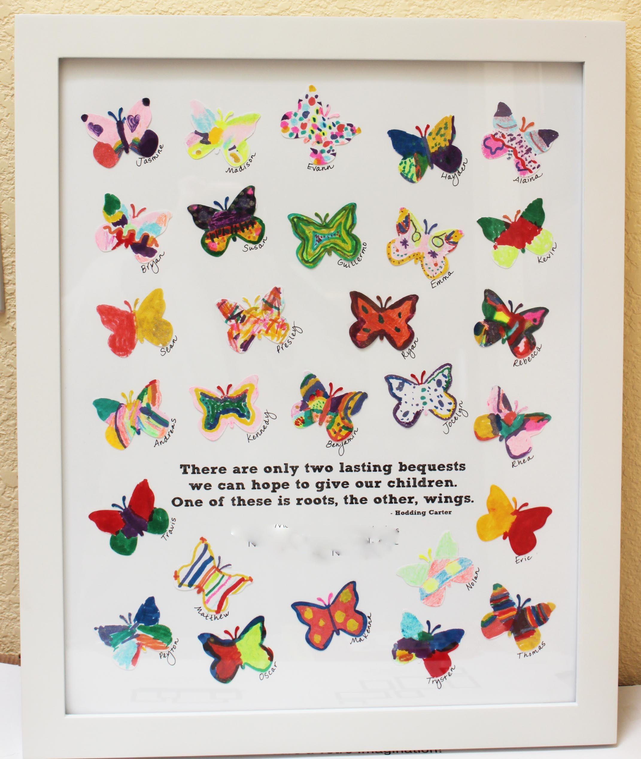 School auction art project the white paper butterflies for White paper butterflies