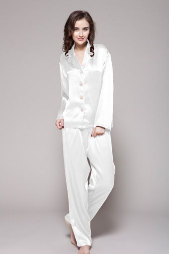 c297b81aec 22 Momme Long Classic Silk Pajama Set