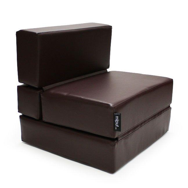 Puf cama convertible polipiel chocolate puf cama - Puff convertible en cama ...