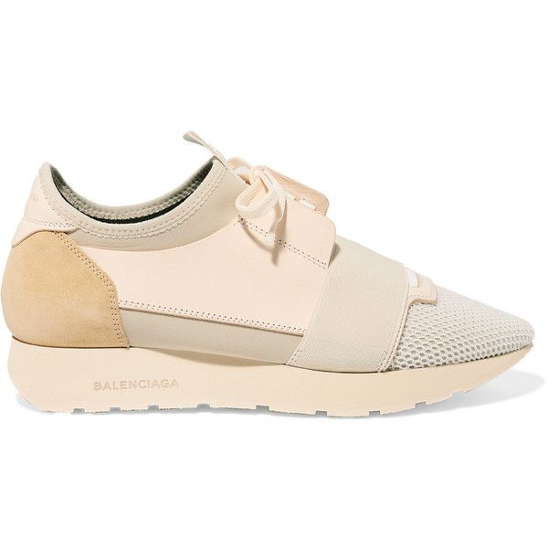 Race Runner Neoprene, Leather And Suede Sneakers Balenciaga