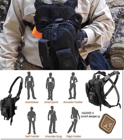 Covert Escape RG(TM) Flashlight Tools Camera GPS Cycling Chest Pack by Hazard 4