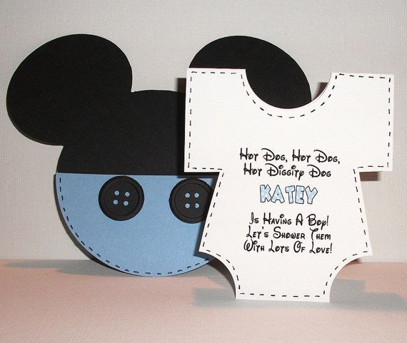 Debu0027s Party Designs   Mickey Mouse Blue Baby Shower Invitations (Inspired)  With A Onesie