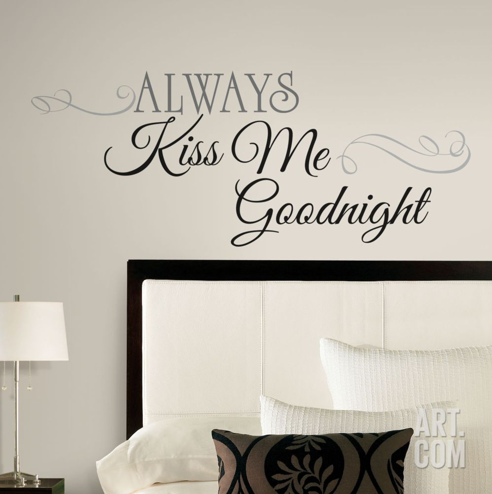 Always Kiss Me Goodnight Heart Wall Quote Wall Stickers Wall Art Bedroom UK 285