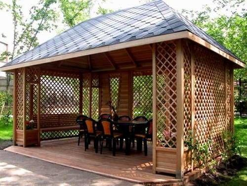 22 Beautiful Garden Design Ideas Wooden Pergolas And Gazebos Improving Backyard Designs Backyard Gazebo Rectangular Gazebo Gazebo Plans