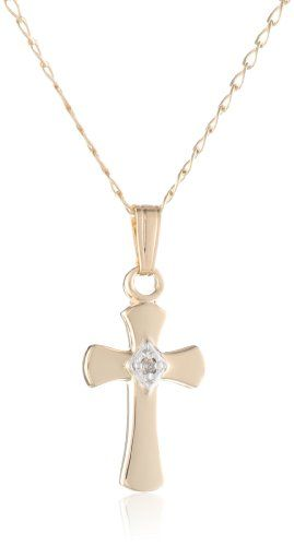 "Children's 14k Gold Filled Petite Diamond Cross Pendant Necklace, 15"" Amazon Curated Collection http://www.amazon.com/dp/B005GDRAEU/ref=cm_sw_r_pi_dp_M4ncub1RGRTEM"