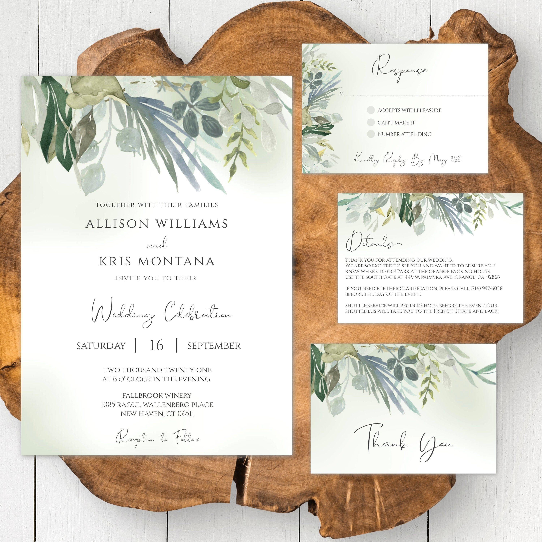 Greenery Wedding Invitation Template Set Affordable Wedding Etsy In 2020 Cheap Wedding Invitations Greenery Wedding Invitations Wedding Invitation Templates