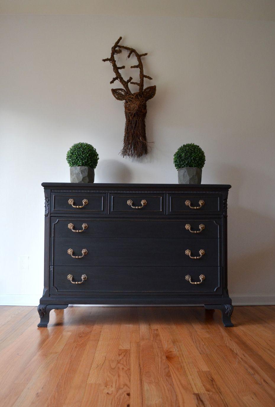 Black Matte Painted Dresser 1 Diy Painted Amp Restored