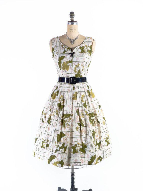 Vintage Cotton Fabric-1940/'s-Dress weight-Novelty-Geometric
