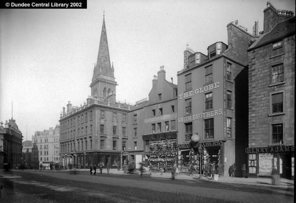 This photograph shows the south-east end of Dundee High Street, with the North British Hotel, which stands at the junction with Castle Street, the focal point (the spire belongs to St Paul's Cathedral, which is directly behind). Keillor's the confectioner is at No. 2 Castle Street, while Smith Brothers the clothiers are No. 4 High Street, beside Tindal's Wynd. The National Boot Company unfortunately does not appear in any Dundee Directory listing.