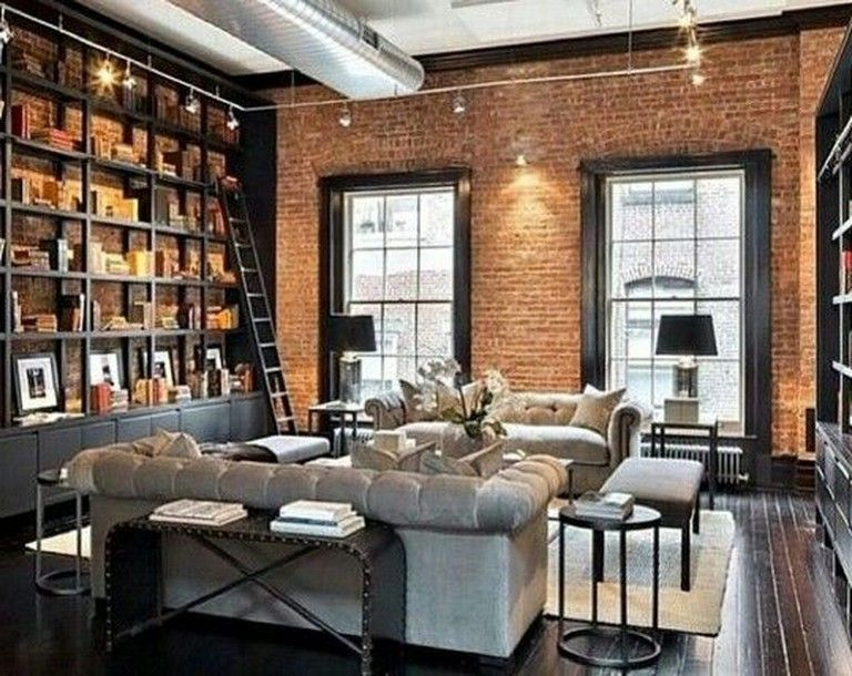 45 Awesome Industrial Library Everyone Should Keep Brick Room Brick Living Room Retro Living Rooms
