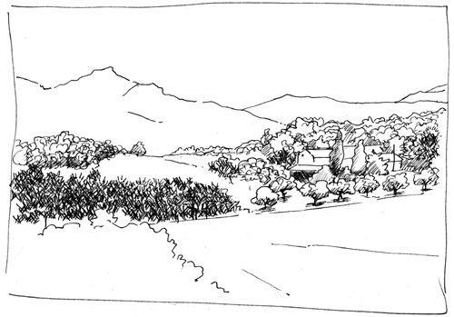 Dessiner un paysage de la DrOme provenCale Lorsque le maçon