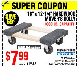 18 In X 12 In 1000 Lb Capacity Hardwood Dolly Diy Projects To