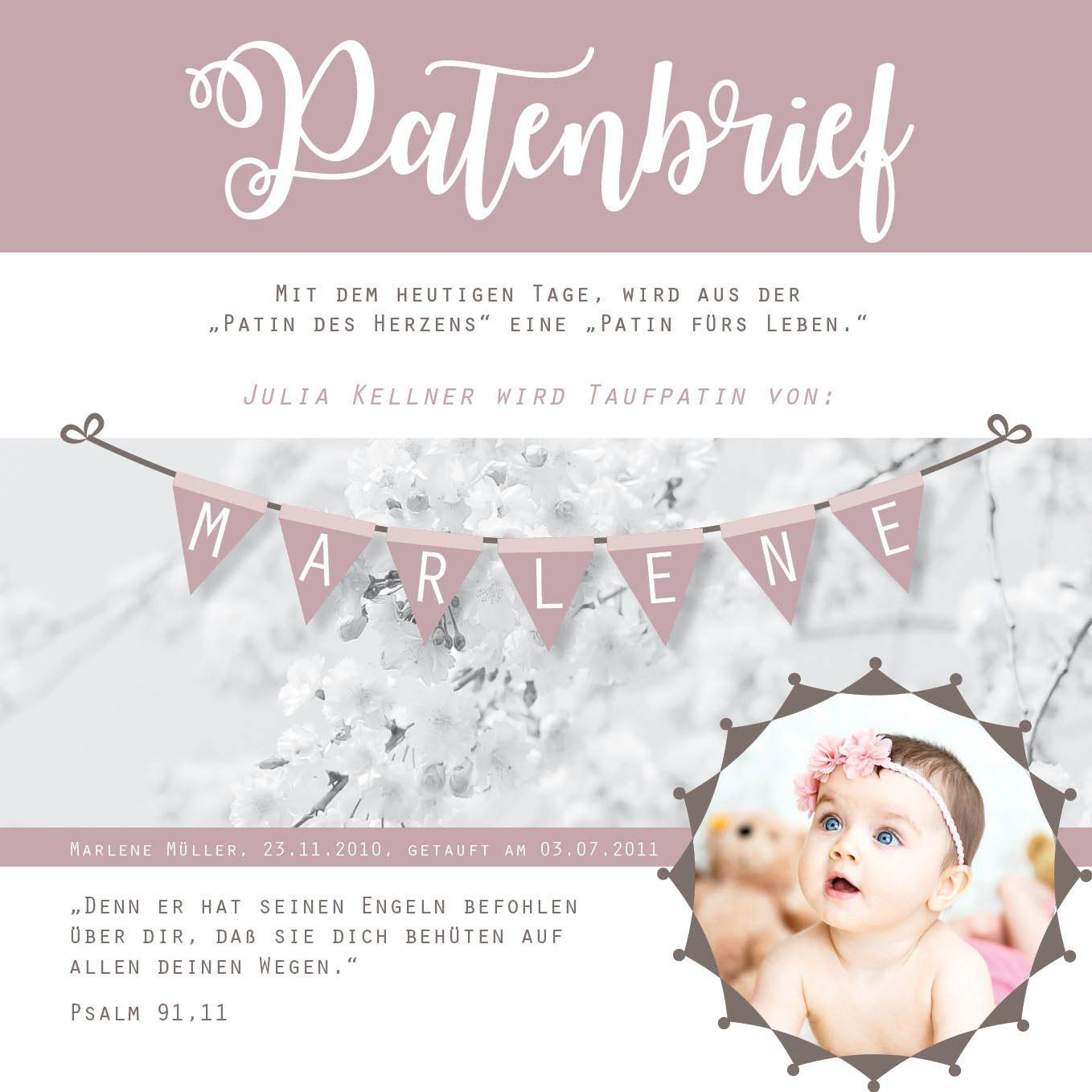 Personalisierter Patenbrief Mit Bild Foto Und Ribba Rahmen Wimpel Altrosa Taufe Pate Patin Picture Letters Ribba Frame Godmother